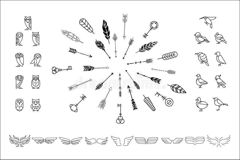 Sistema de Vectoe de diversos búhos de los elementos de la decoración, de pájaros, de alas y de flechas lindas del inconformista  ilustración del vector