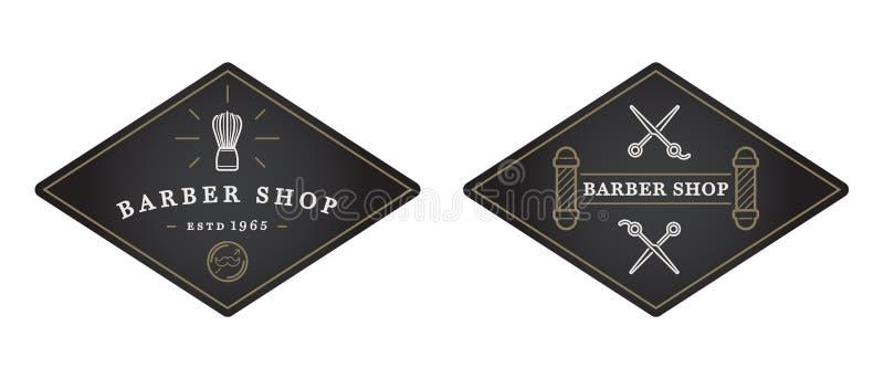 Sistema de vector Barber Shop Elements y de los iconos Illustra de la tienda del afeitado stock de ilustración