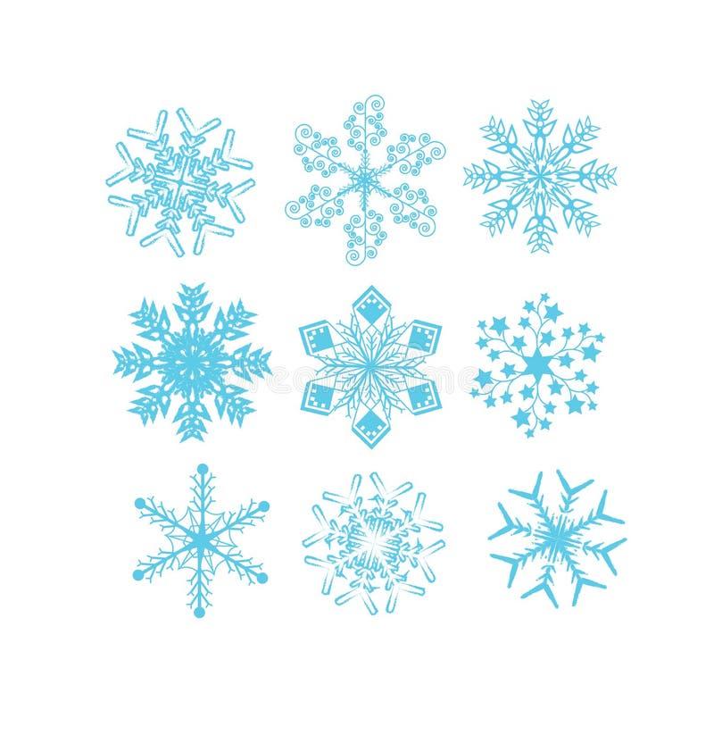 Sistema de vectores del copo de nieve libre illustration