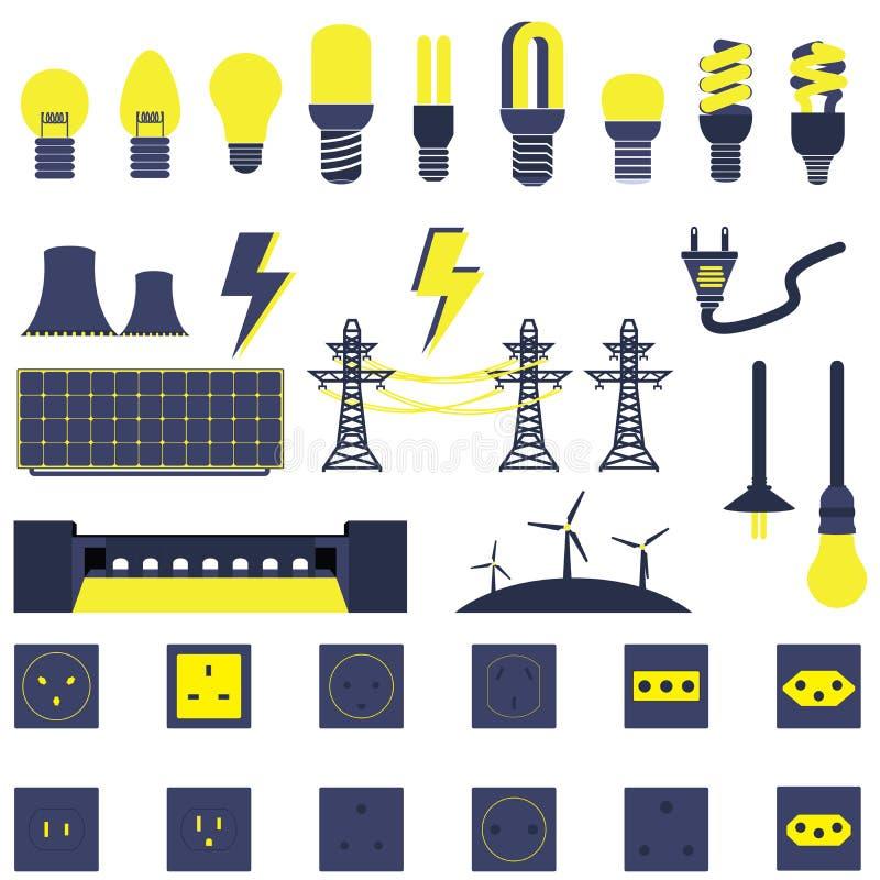 Sistema de vectores y de iconos de la energía de Electric Power stock de ilustración