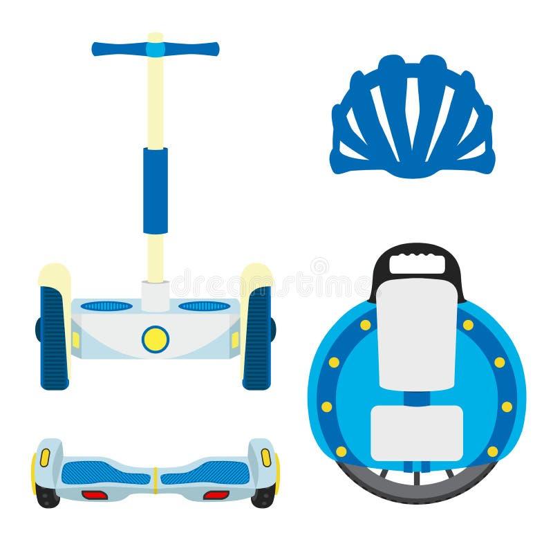 Sistema de vehículos modernos del eco Monowheel, unicycle, segway, vespa rueda en el fondo blanco ilustración del vector