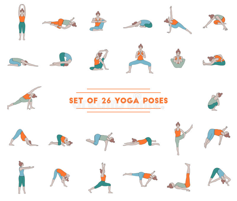 Sistema de veintiséis actitudes de la yoga imagen de archivo libre de regalías