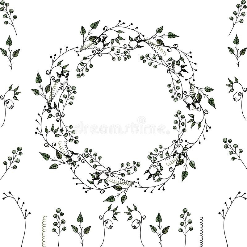 Sistema de Vektor: marco floral y elementos florales para la decoraci?n de las tarjetas de felicitaci?n, invitaciones de la boda  stock de ilustración