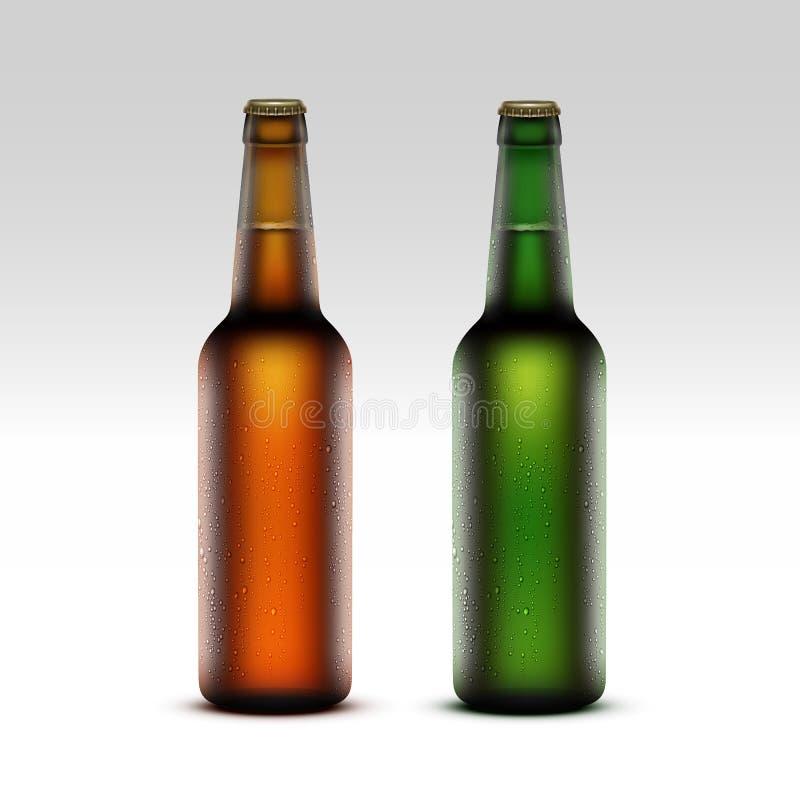 Sistema de verde de cristal Frosty Bottles de Brown con descensos libre illustration