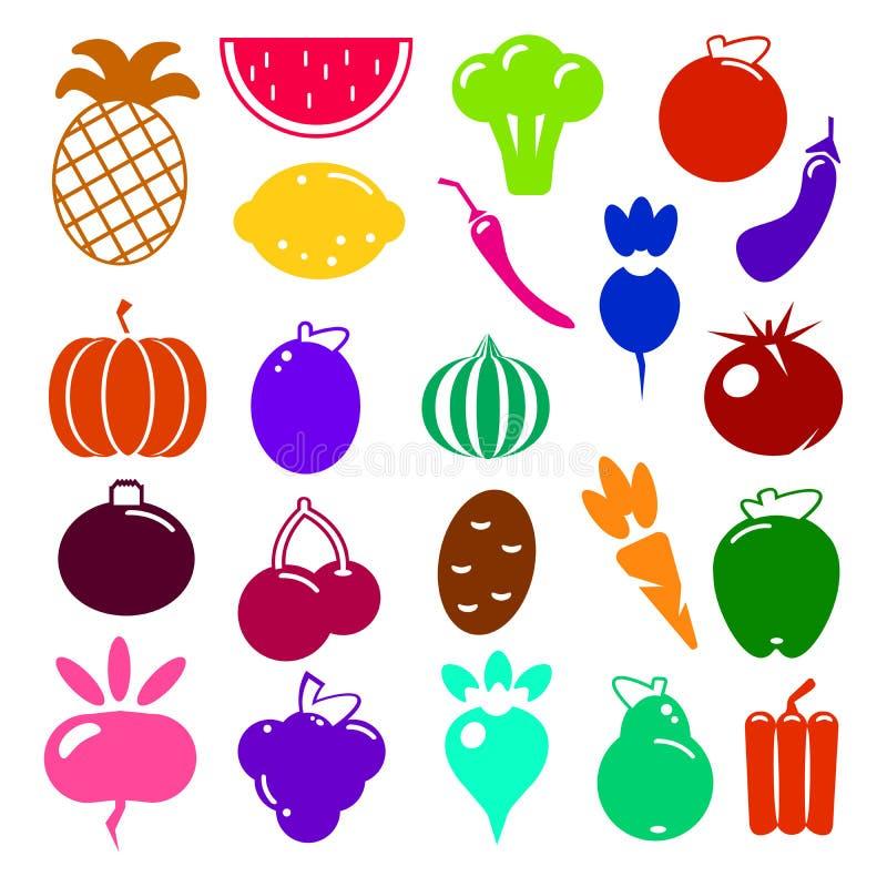 Sistema de verdura realista natural y de frutas de la comida del icono de la cocina sana orgánica vegetariana de la comida Ilustr libre illustration