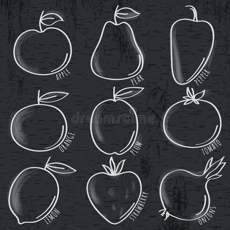 Sistema de verdura y de fruta orgánicas en la pizarra stock de ilustración