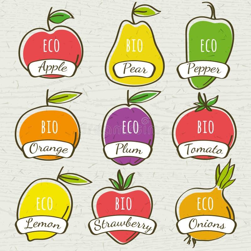 Sistema de verdura y de fruta orgánicas, vector stock de ilustración