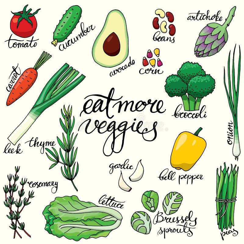 Sistema de verduras dibujadas mano aisladas libre illustration