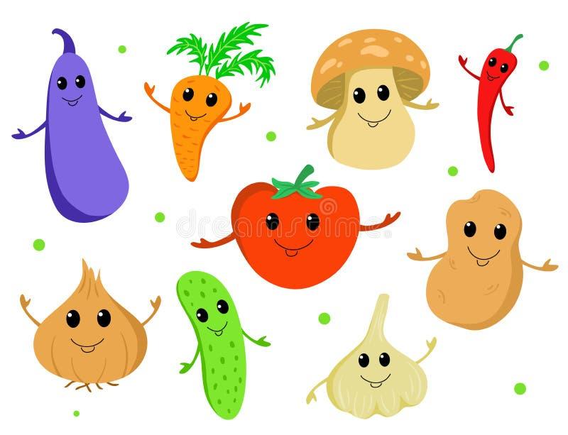 Sistema de verduras lindas de la historieta libre illustration