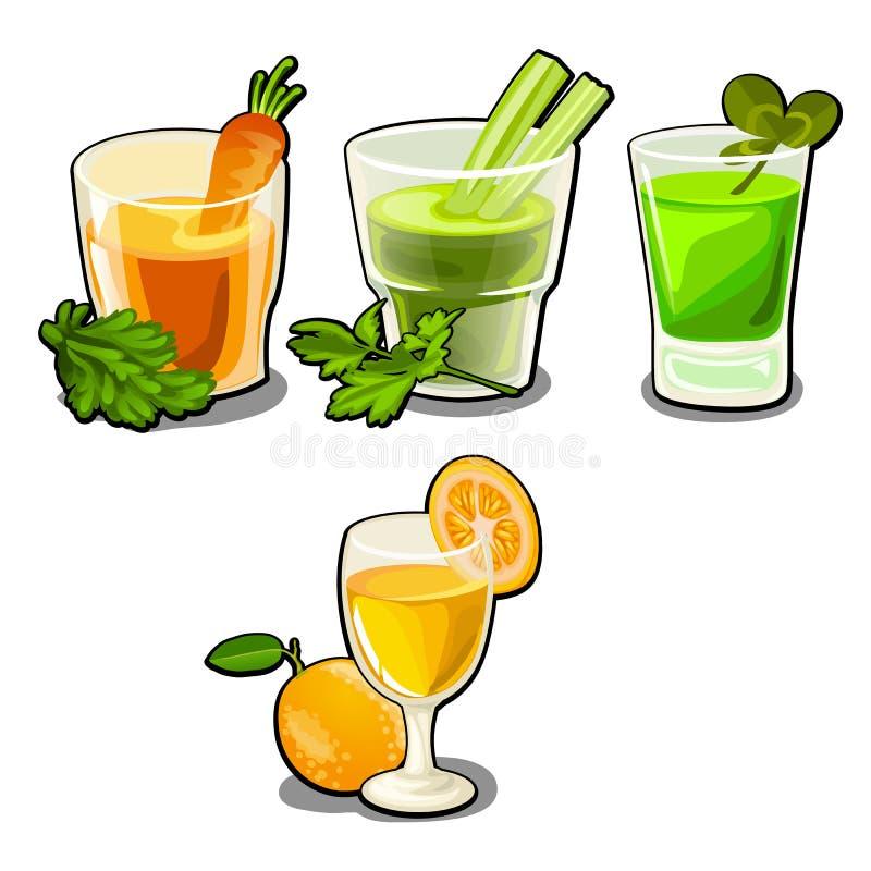 Sistema de vidrios con las verduras frescas y los zumos de fruta aislados en el fondo blanco Consumición sana de la comida y de l stock de ilustración