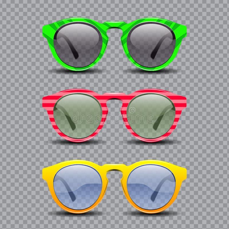 Sistema de vidrios de sol del vintage stock de ilustración
