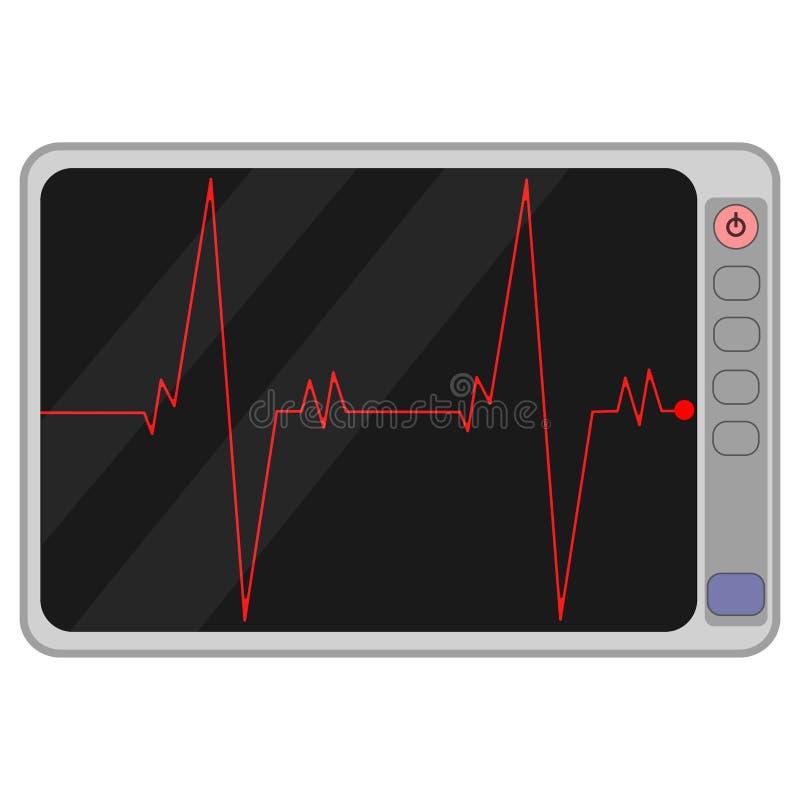 Sistema de vigilancia cardiio aislado en fondo negro Pulso del corazón, señal Latido del corazón, línea del electrocardiograma Ca stock de ilustración