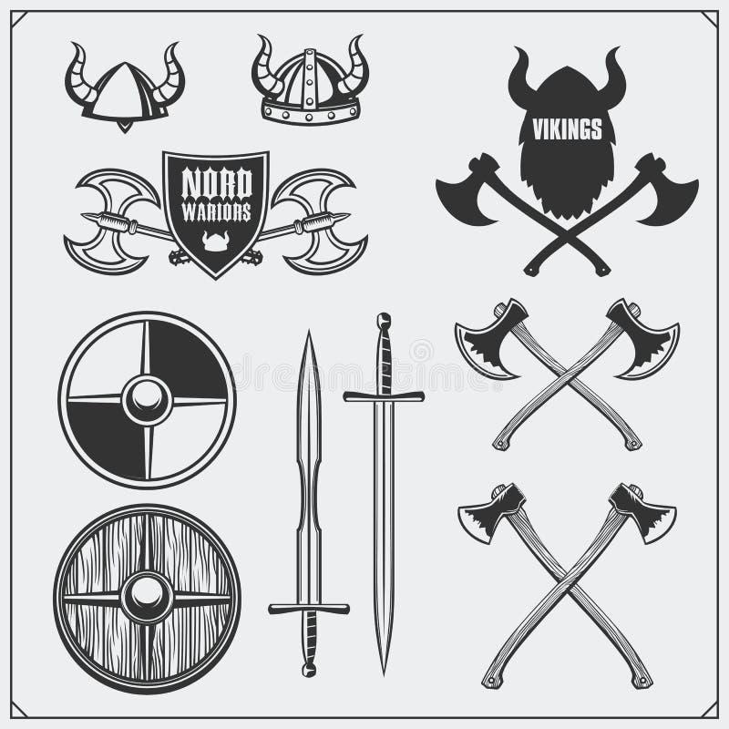 Sistema de Viking Casco, escudo, espada y hacha de cuernos Estilo de la vendimia 'ÑŒ DE Ð°Ñ ilustración del vector