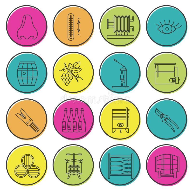 Sistema de vinificación, iconos de la degustación de vinos libre illustration