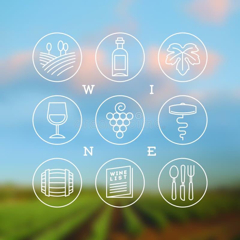 Sistema de vino e iconos y emblemas de la vinificación libre illustration
