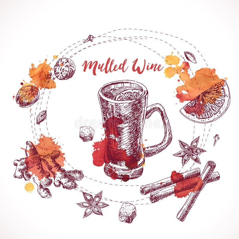 Sistema de vino reflexionado sobre, ingredientes dibujados mano Cocinar el ingrediente del aroma libre illustration