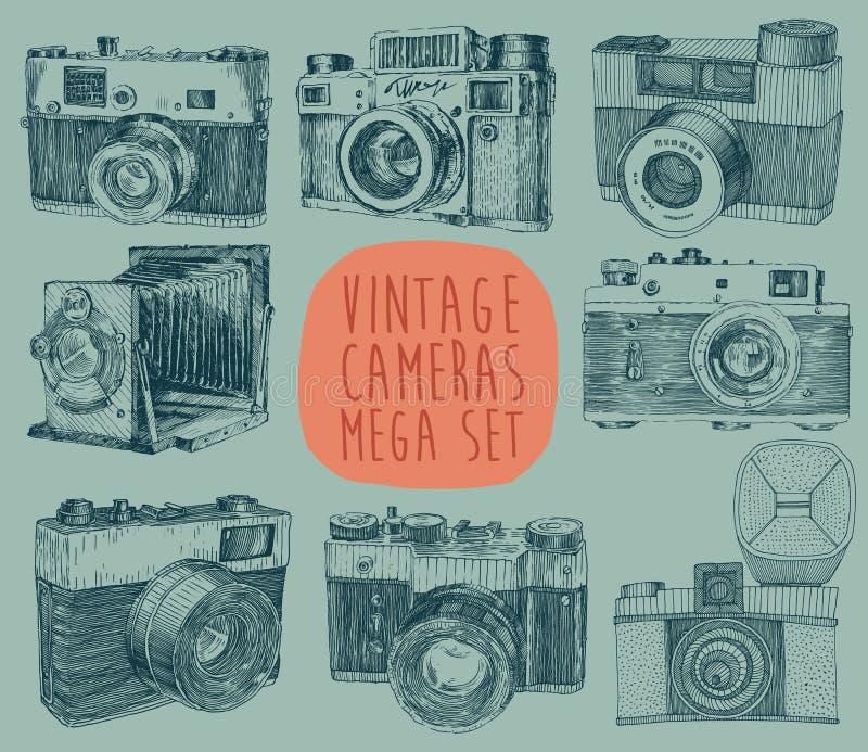 Sistema de vintage, cámara retra, vieja, mano dibujada ilustración del vector