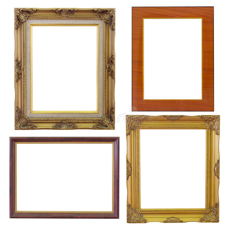 Sistema de vintage de oro del marco y de madera aislado en el fondo blanco fotos de archivo