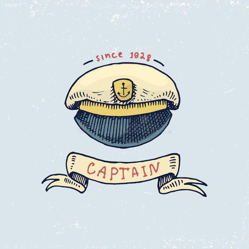 Sistema de vintage grabado, mano dibujada, vieja, etiquetas o insignias para el casquillo de los capitanes Emblemas marinos y náu ilustración del vector