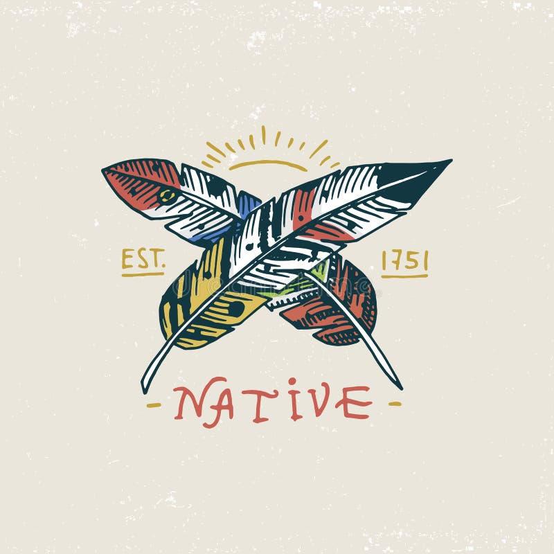 Sistema de vintage grabado, mano dibujada, vieja, etiquetas o insignias para el indio o el nativo americano, plumas libre illustration