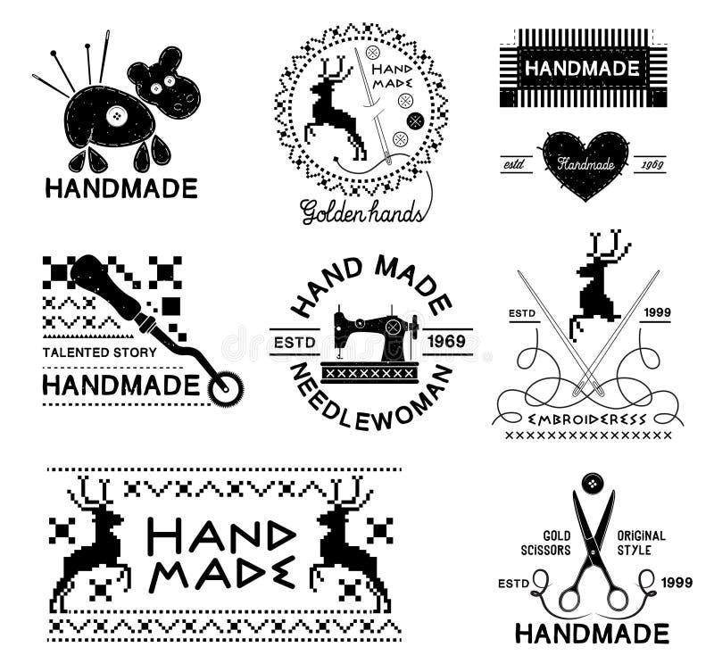 Sistema de vintage hecho a mano y etiquetas del sastre, emblemas y elementos diseñados stock de ilustración