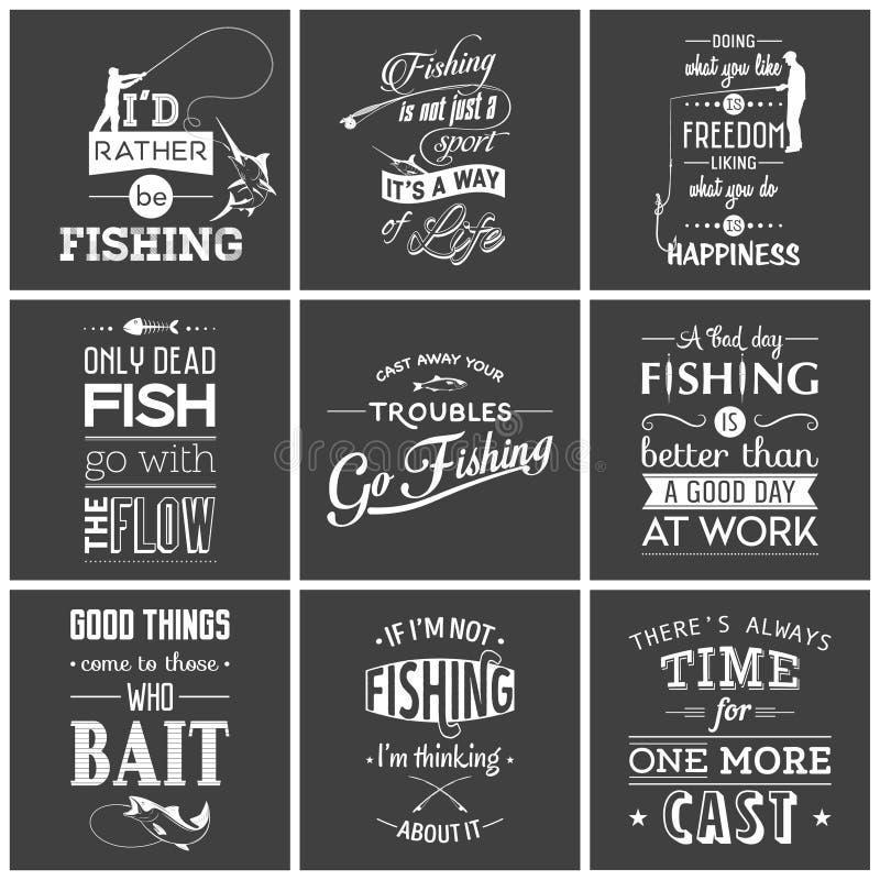 Sistema de vintage que pesca citas tipográficas stock de ilustración