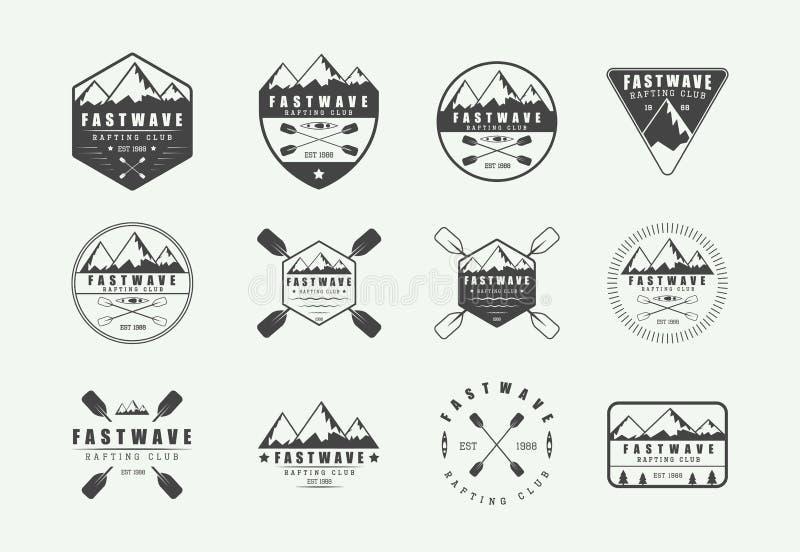 Sistema de vintage que transporta el logotipo, etiquetas e insignias en balsa Arte gráfico ilustración del vector