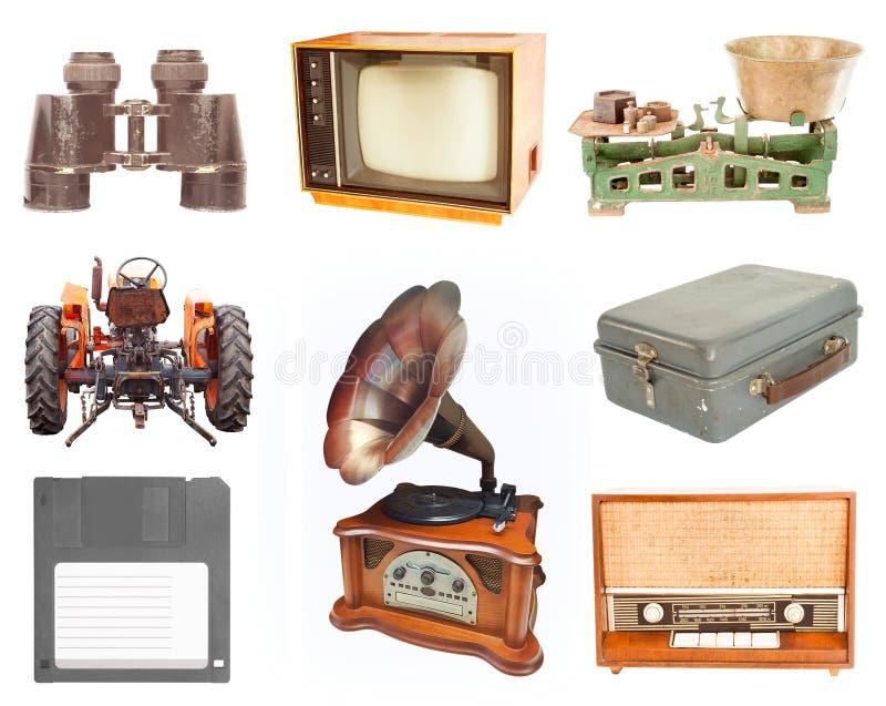 Sistema de vintage y de artículos retros imagenes de archivo
