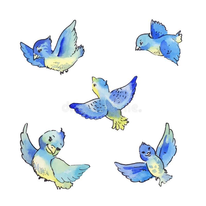 Sistema de volar los pájaros azules, ejemplo de la acuarela stock de ilustración