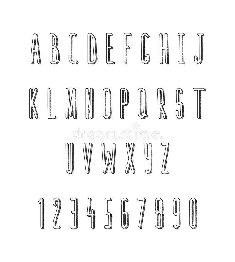 Sistema de volumen de letras y de números, hecho a mano Fuente del bosquejo stock de ilustración