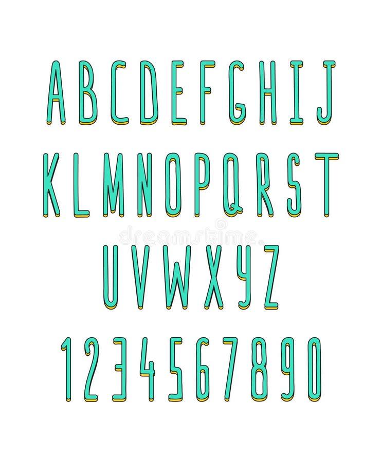 Sistema de volumen de letras y de números, hecho a mano Fuente del bosquejo ilustración del vector