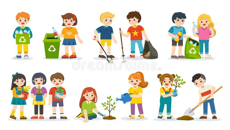 Sistema de voluntarios lindos de los ni?os Ni?os plantados y ?rboles jovenes de riego est?n recolectando la basura de la basura y ilustración del vector