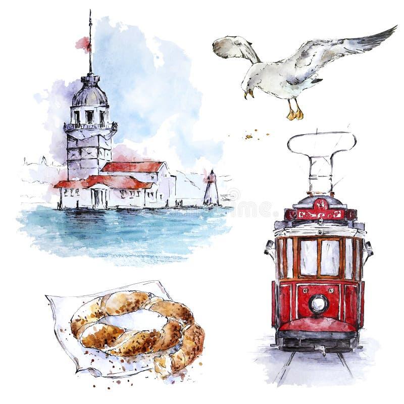 Sistema de Watecolor Estambul con la torre, la tranv?a, la gaviota y el simit virginales stock de ilustración