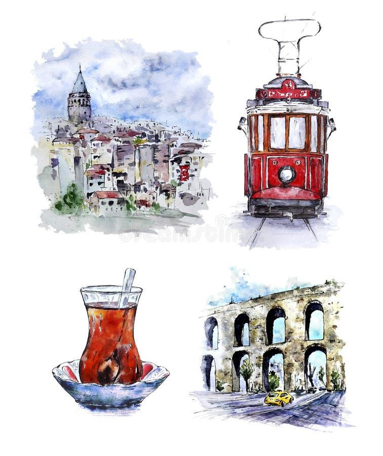 Sistema de Watecolor Estambul con paisaje urbano, la tranvía y el té turco libre illustration