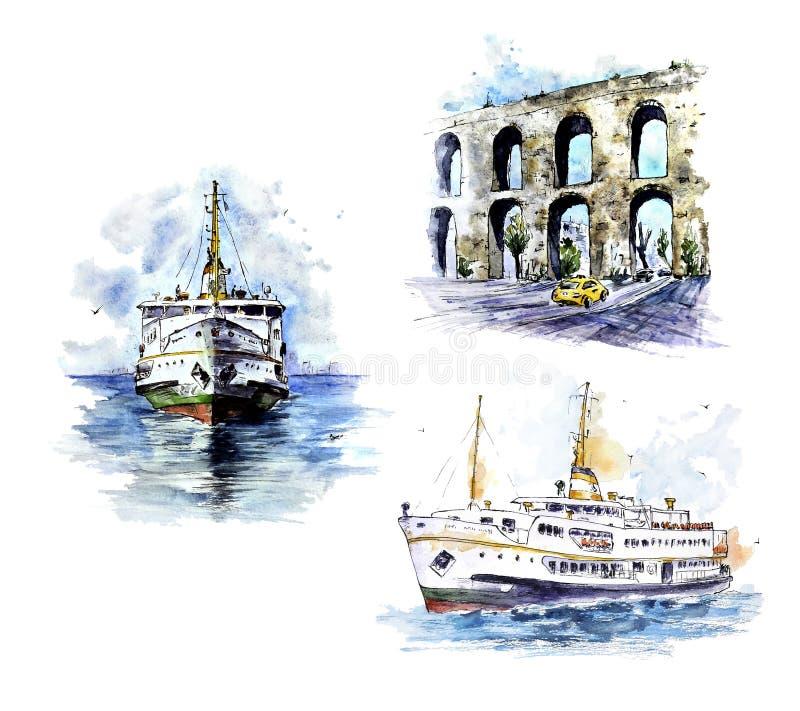 Sistema de Watecolor Estambul Elementos pintados a mano aislados en blanco stock de ilustración