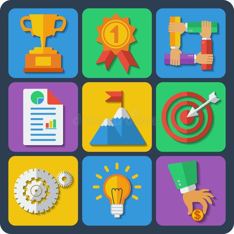 Sistema de web de 9 negocios y de iconos móviles. Vector. libre illustration