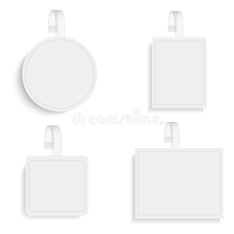 Sistema de wobblers redondos en blanco con la tira transparente ilustración del vector