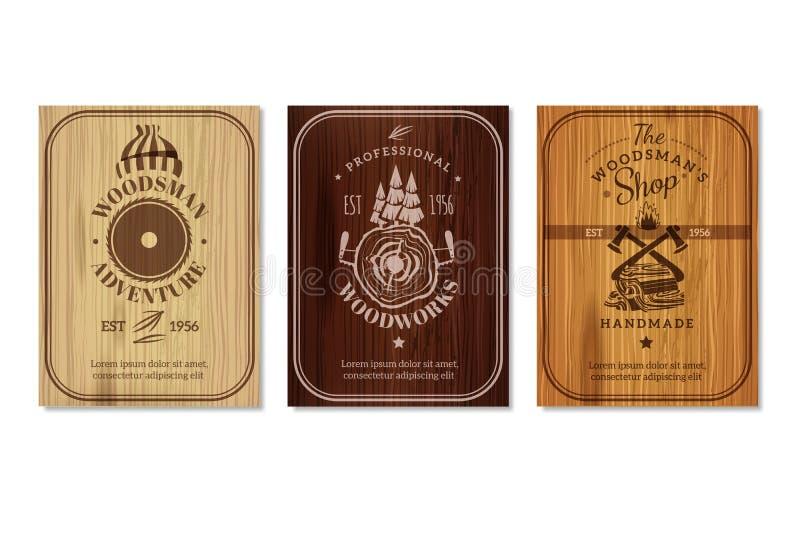 Sistema de Woodwork Texture Banners del leñador stock de ilustración