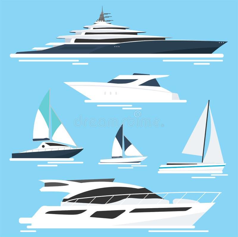 Sistema de yates y de barcos Viaje por mar Ilustración del vector stock de ilustración