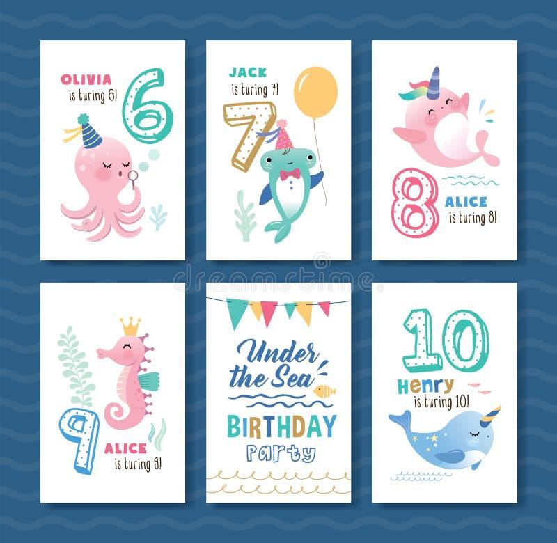 Sistema debajo de la tarjeta de felicitación del cumpleaños del mar libre illustration