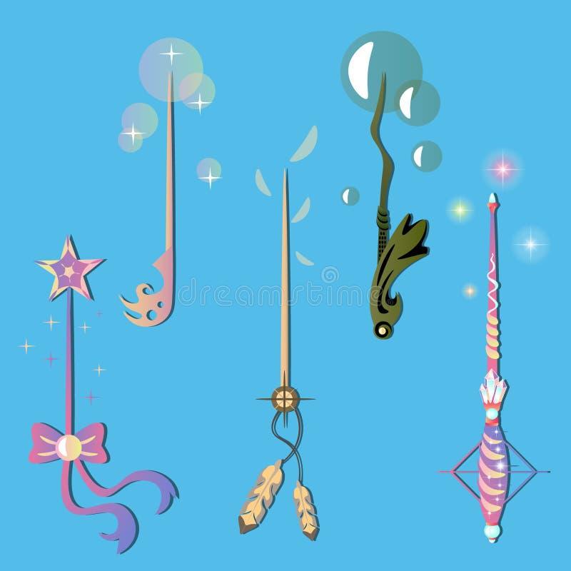 Sistema decorativo con las varas mágicas ilustración del vector