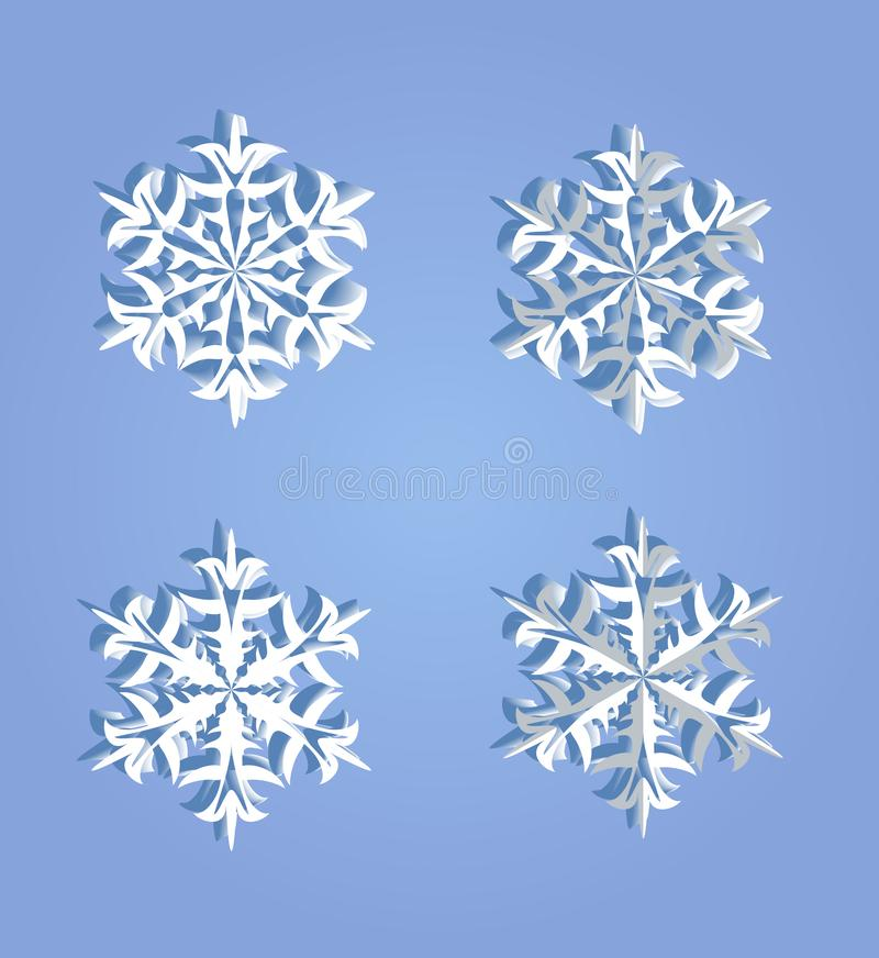 Sistema decorativo de copos de nieve voluminosos del invierno en un backgr azul stock de ilustración