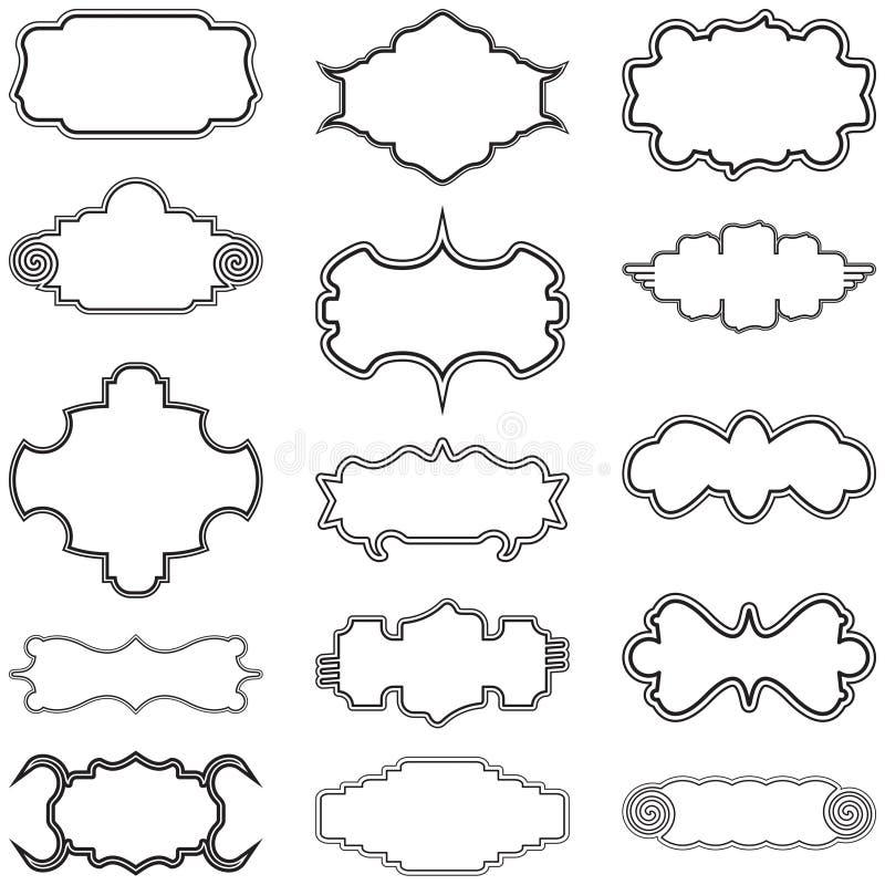 Sistema decorativo de la colección del vector de los marcos ilustración del vector