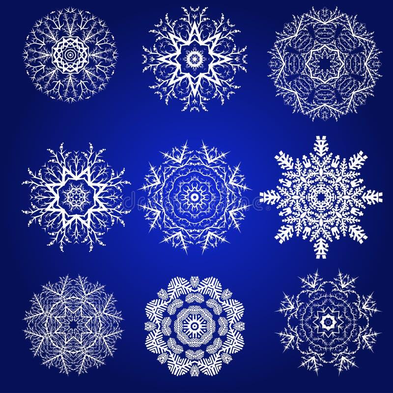 Sistema decorativo del vector de los copos de nieve stock de ilustración