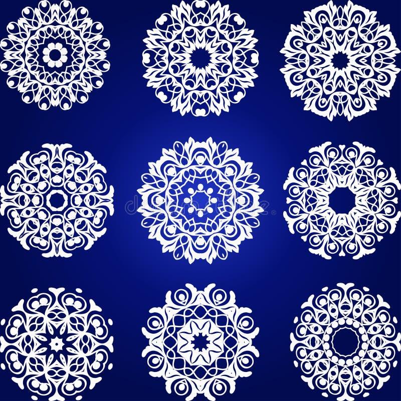 Sistema decorativo del vector de los copos de nieve ilustración del vector