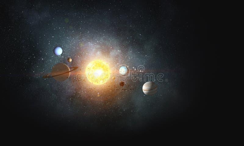 Sistema dei pianeti Media misti immagine stock libera da diritti