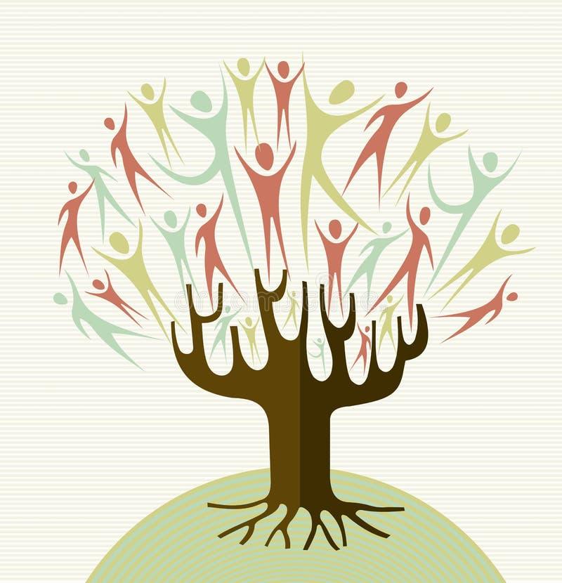 Sistema del árbol de la diversidad del abrazo ilustración del vector