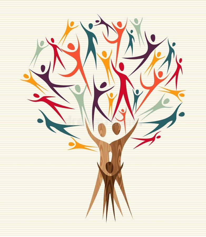 Sistema del árbol de la gente de la diversidad ilustración del vector