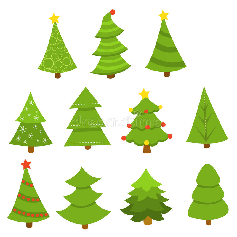 Sistema del árbol de pino stock de ilustración