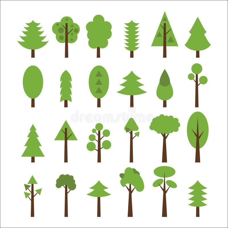 Sistema del árbol plano de los iconos Iconos verdes de los árboles fijados libre illustration